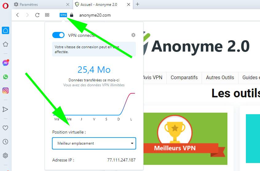 Les options d'Opéra VPN