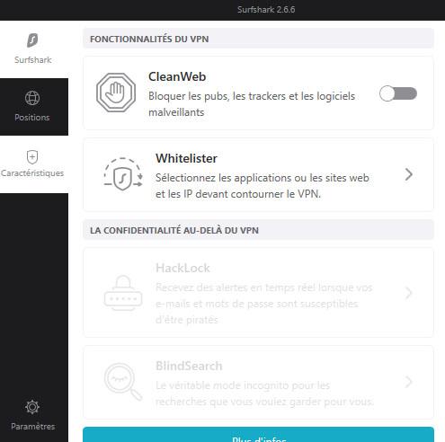 les fonctions Cleanweb et Whitelister sur l'application Windows 10