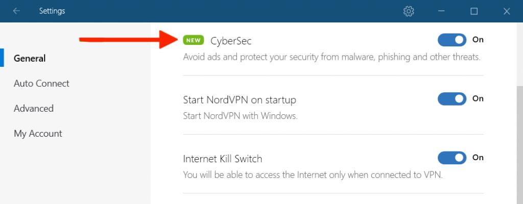 option cybersec sur application NordVPN