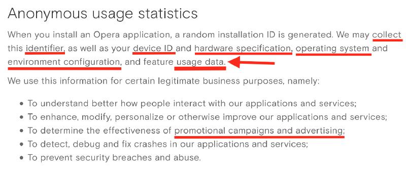 Opera collecte données personnelles