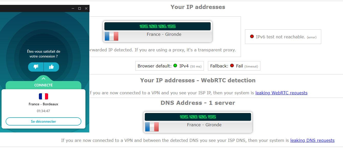 test de fuite DNS et RTC