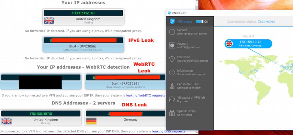 test de fuite DNS et webRTC. resultat KO