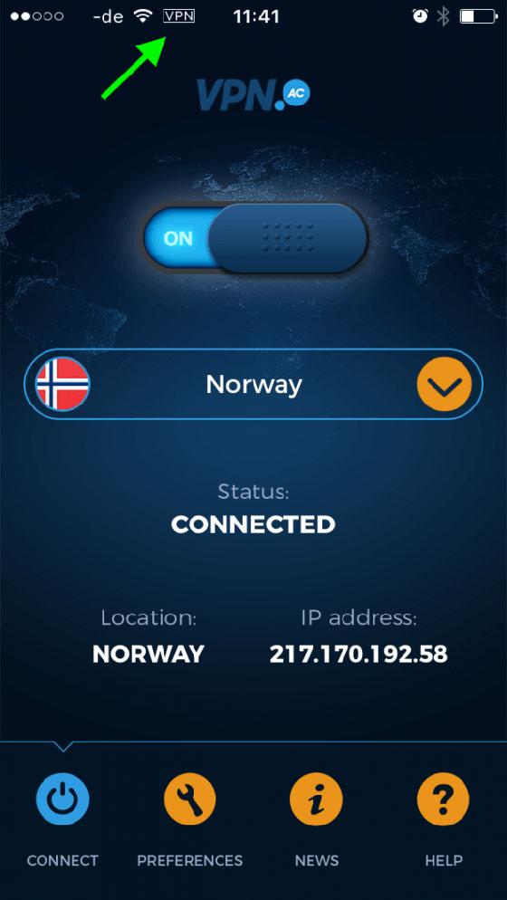Le client iOS de VPN.ac