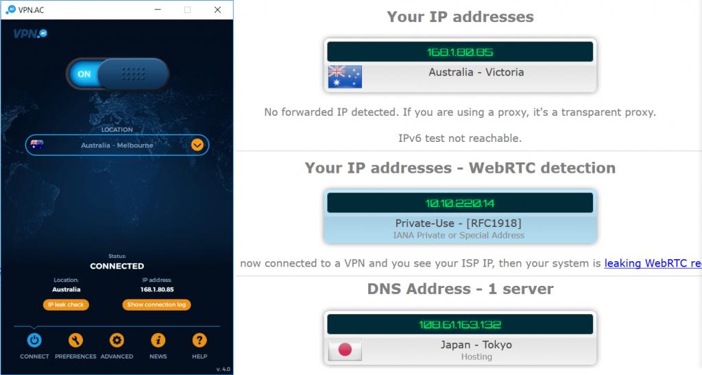 pas de fuite DNS avec l'application