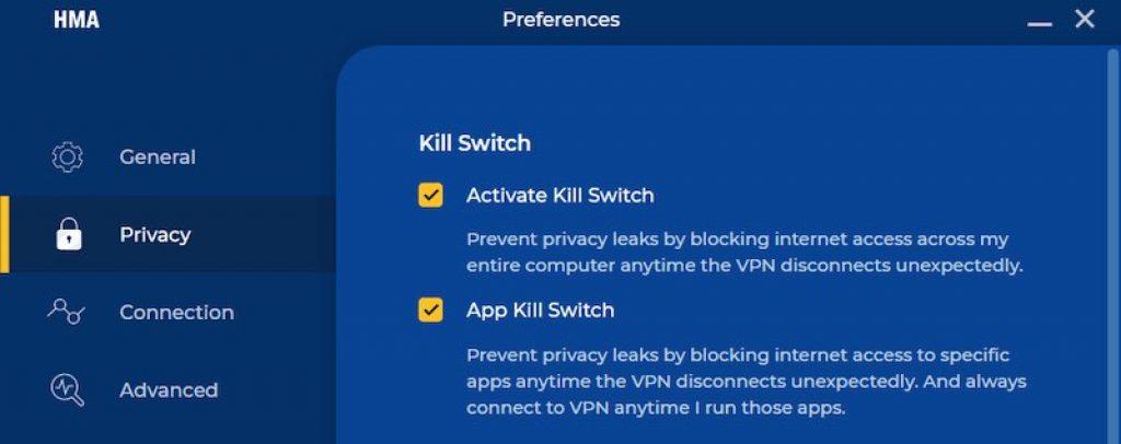 Test du Kill switch de HydeMyAss