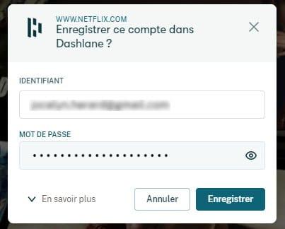 enregistrement automatique des passwords dans l'extension